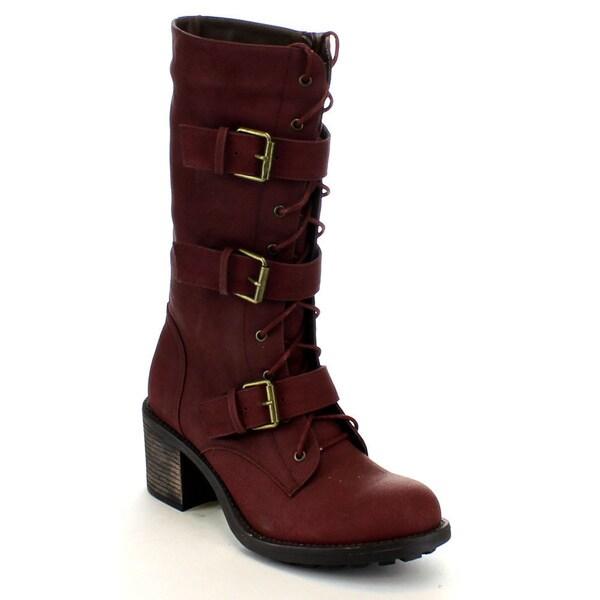5b0a8fd04043d Shop Fahrenheit Women's 'Nancy-05' Lace-up Mid-calf Combat Boots ...