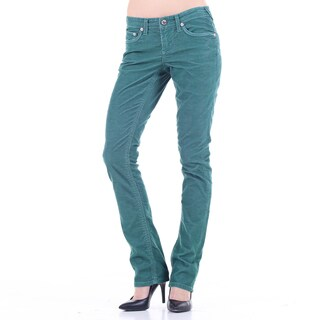 Stitch's Women's Lightweight Green Corduroy Straight Leg Jeans