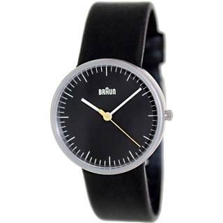 Braun Women's BN0021BKBKL Black Leather Analog Quartz Watch