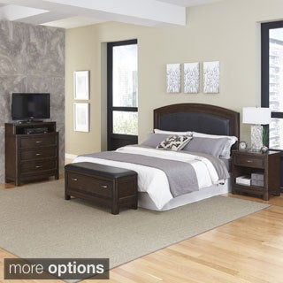 Home Styles Crescent Hill Headboard, Night Stand, Upholstered Bench, and Media Chest