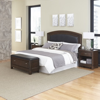 Home Styles Crescent Hill Headboard, Two Night Stands, and Upholstered Bench