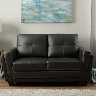 Furniture of America Noka Contemporary Black Faux Leather Loveseat