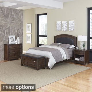 Home Styles Crescent Hill Bed, Night Stand, Upholstered Bench, and Chest