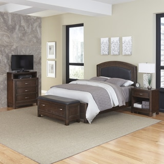 Home Styles Crescent Hill Bed, Night Stand, Upholstered Bench, and Media Chest
