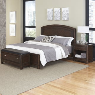 Home Styles Crescent Hill Bed, Night Stand, and Upholstered Bench