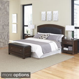 Home Styles Crescent Hill Bed, Two Night Stands, & Upholstered Bench