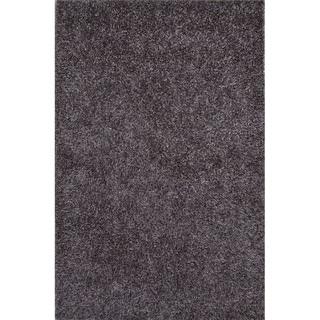 Solid Pattern Grey Polyester Shag Rug (7'6x9'6)