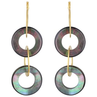 Sunstone Catherine Canino 18k Goldplated Mother of Pearl Circle Dangle Earrings