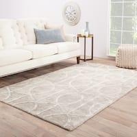 Savoy Handmade Trellis Gray/ White Area Rug (9' X 12') - 9' x 12'
