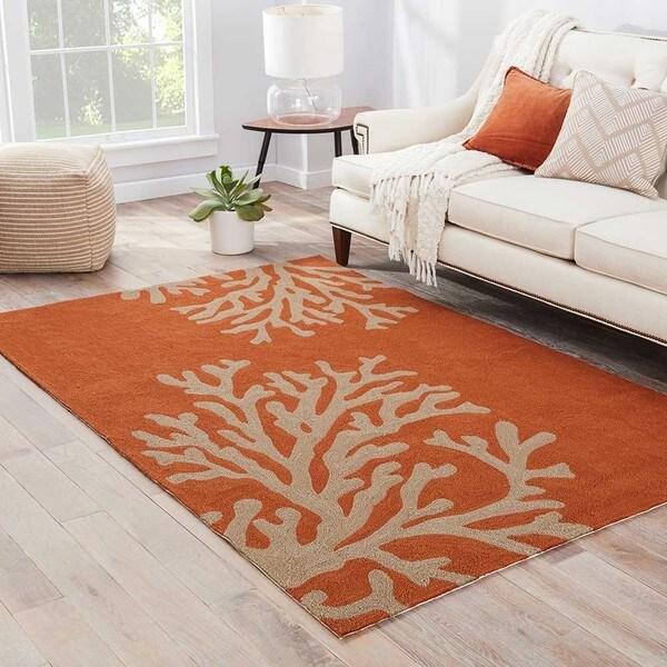 Havenside Home Saint Michaels Indoor/ Outdoor Floral Orange/ Taupe Area Rug - 9' x 12'