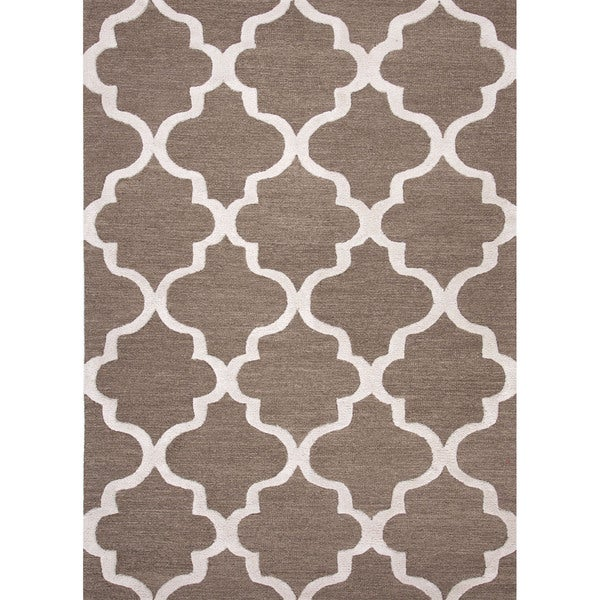 Portland Handmade Trellis Brown/ White Area Rug (9' x 12')