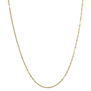 Fremada 10k Yellow Gold Italian Singapore Chain With Flat Stations Necklace