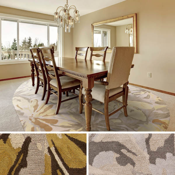 New Persian Hand Tufted Wool Oval Area Rug: Shop Hand-tufted Garden Floral Oval Wool Area Rug