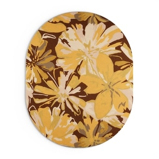 Hand-tufted Garden Floral Oval Wool Area Rug (Yellow/Brown - 6 x 9 Oval)