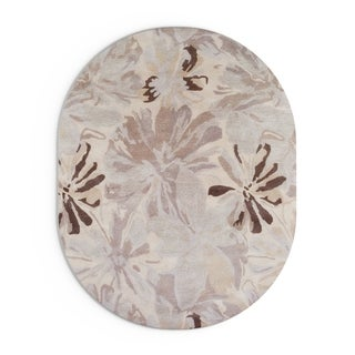 Hand-tufted Garden Floral Oval Wool Area Rug (Beige/Grey - 6 x 9 Oval)