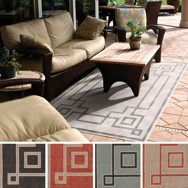 Outdoor 5x8 Area Rug: Meticulously Woven Odette Contemporary Geometric Indoor