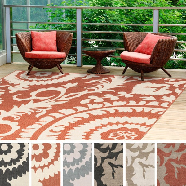 Indoor Outdoor Rugs Square: Nina Contemporary Floral Indoor/Outdoor Area Rug (7'3
