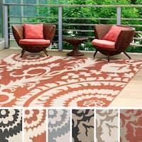 Nina Contemporary Floral Indoor/Outdoor Area Rug (7'3 Square)