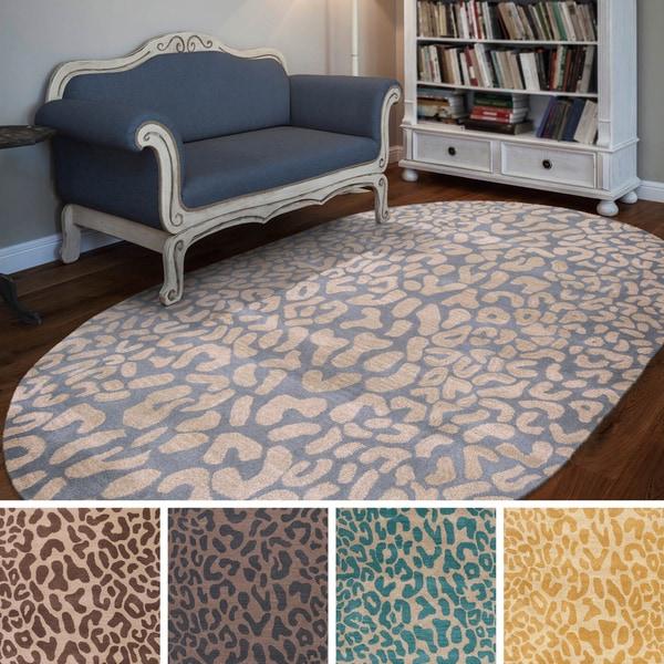 Hand Tufted Jungle Animal Print Oval Wool Area Rug 8 X