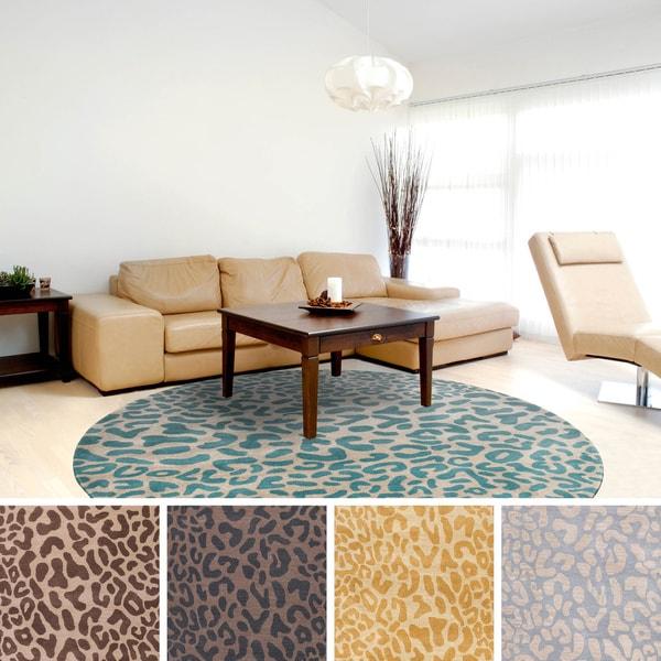 Hand Tufted Jungle Animal Print Round Wool Area Rug 6 X