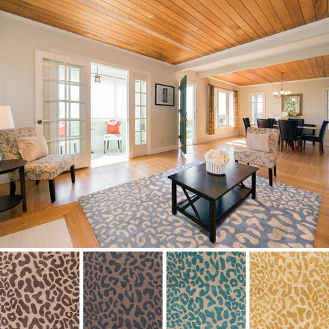Hand-tufted Jungle Animal Print Square Wool Area Rug