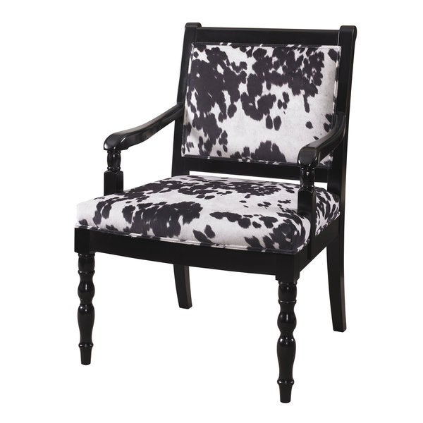 Glossy Black Cow Print Chair Free Shipping Today
