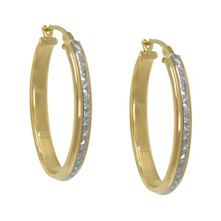 14k Two-tone Diamond Cut Hoop Earrings