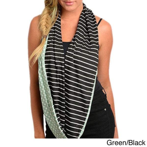 Shop The Trends Women's Knit Polka-dot and Stripes Infinity Scarf. Opens flyout.