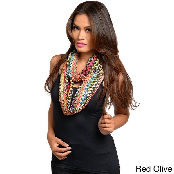 Feellib Women's Multicolored Aztec Zig-zag Lightweight Infinity Scarf. Opens flyout.
