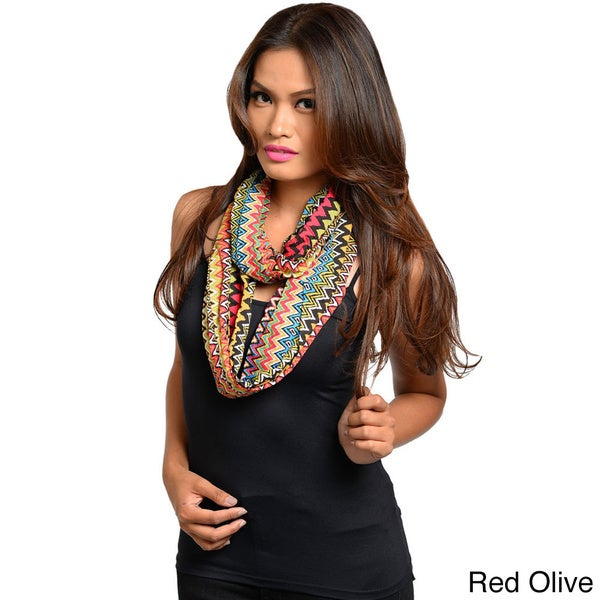 Feellib Women's Multicolored Aztec Zig-zag Lightweight Infinity Scarf