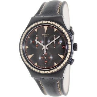 Swatch Men's Irony YCB4024 Black Leather Swiss Quartz Watch