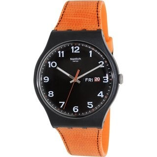 Swatch Men's Originals SUOB709 Orange Silicone Black Dial Watch