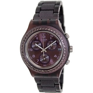 Swatch Women's Irony SVCV4000AG Black Stainless Steel Purple Dial Watch