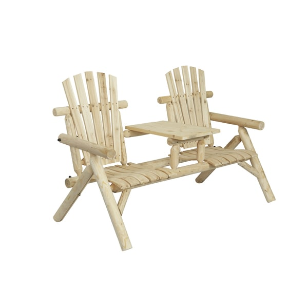 Log Style Natural Two Seat Bench With Console