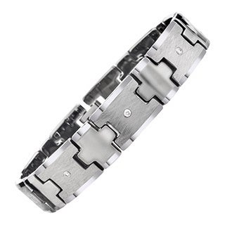 Tungsten Men's 1/5ct TDW Diamond Criss-cross Bracelet By Ever One