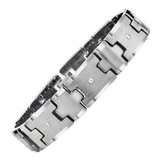 Tungsten Men's 1/5ct TDW Diamond Criss-cross Bracelet By Ever One|https://ak1.ostkcdn.com/images/products/9290363/P16452963.jpg?impolicy=medium