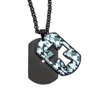 Men's Black Stainless Steel 0.07ctw Diamond Accent Camo Cross Dog Tag Necklace
