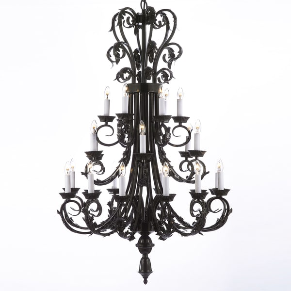 Wrought Iron Foyer Chandelier : Gallery light wrought iron foyer entryway chandelier