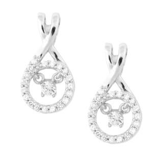 La Preciosa Sterling Silver 'Dancing' Cubic Zirconia Earrings