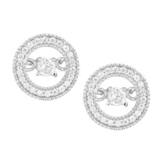 La Preciosa Sterling Silver 'Dancing' Cubic Zirconia Circle Stud Earrings