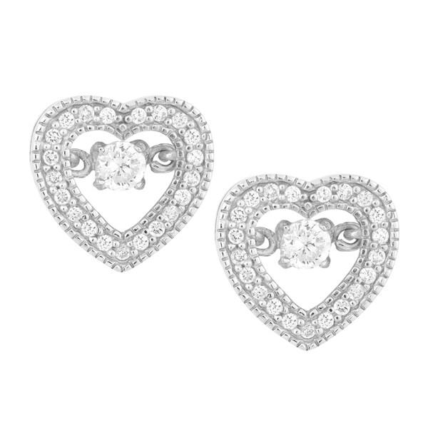 La Preciosa Sterling Silver 'Dancing' Cubic Zirconia Heart Stud Earrings