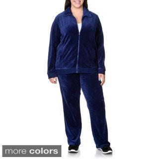 La Cera Women's Plus Size 2-piece Sweat Suit