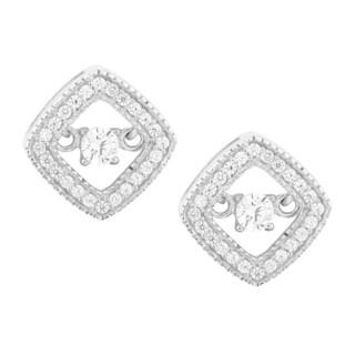 La Preciosa Sterling Silver 'Dancing' Cubic Zirconia Square Earrings