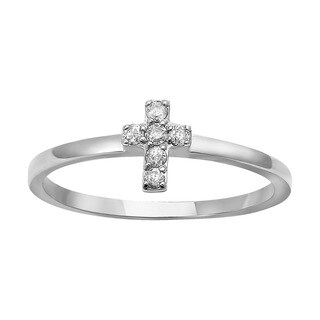 Beverly Hills Charm 10k Gold 1/10ct TDW Diamond Stackable Cross Ring (H-I, I2-I3)