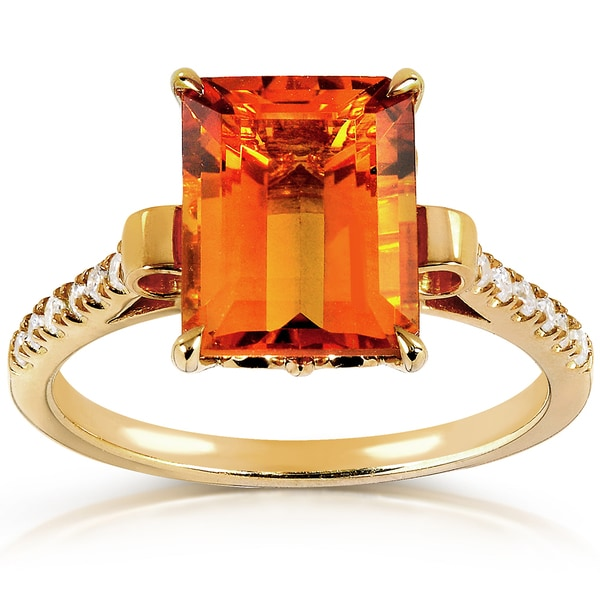 Annello by Kobelli 14k Goldplated Silver Orange Citrine and 1/6ct TDW Diamond Ring