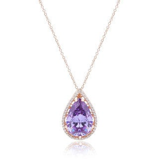 Blue Box Jewels Rose Goldplated Sterling Silver Purple Cubic Zirconia Teardrop Necklace