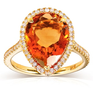 Annello by Kobelli 10k Yellow Gold Pear-shape Orange Citrine and 1/3ct TDW Diamond Halo Ring