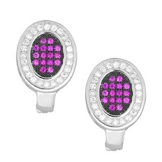 La Preciosa Sterling Silver Pink and White Micro Pave Cubic Zirconia Oval Earrings