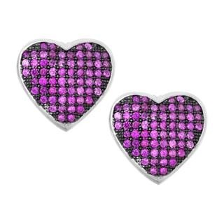 La Preciosa Sterling Silver Pink Micro Pave Cubic Zirconia Heart Stud Earrings