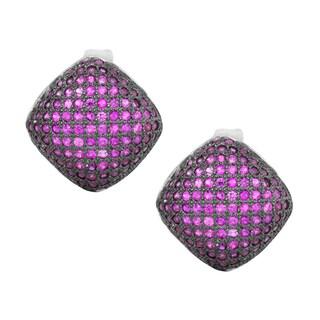 La Preciosa Sterling Silver Pink Cubic Zirconia Puffed Square Earrings